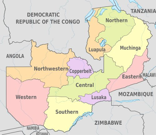 Map of Zambian administrative provinces